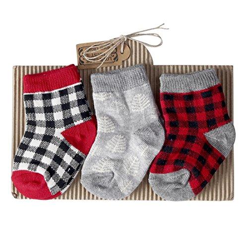 Sanlutoz 3 paires Coton Bébé Garçons Chaussettes Doux Élastique Carré Nourrisson Bambin Chaussettes (12-24 mois, SKPK048)