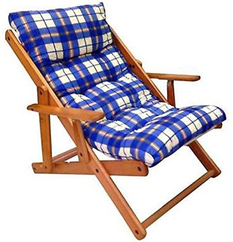 Fauteuil chaise relax chaise longue en bois pliable Coussin rembourré H 100 cm séjour cuisine salon canapé