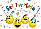Edition Colibri 10 inviti per Festa di Compleanno; Motivo: Smiley / Emoticon / inviti di Compleanno per Bambini / in Italiano (10719 IT)