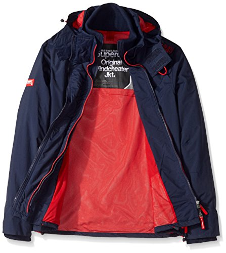 Superdry Herren Technische Pop Zip Windcheater Jacke mit Kapuze Nautical Navy/Rebel Red