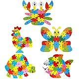 Hillento puzzle di legno puzzle di puzzle per i più piccoli bambini - giocattoli educativi di apprendimento sicuro per i più piccoli, set di 5 (granchio, farfalla, tartaruga, gallo, pesce)