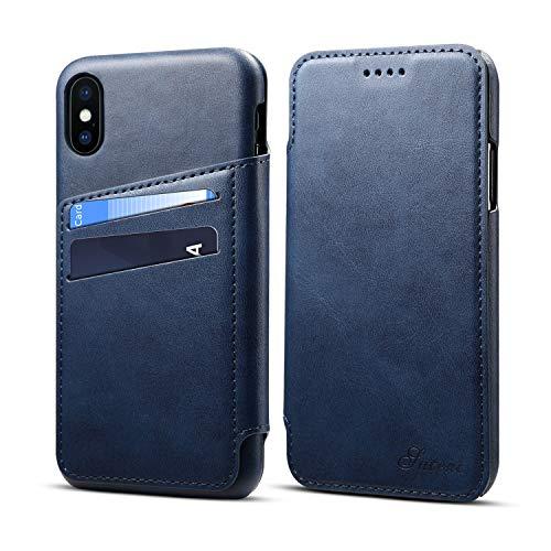 JiesenSJK Ledertasche für iPhone XsMax XR XS X 7plus 8plus mit Kreditkartenetui Halter Brieftasche Leder-Handyhülle für die Abdeckung umklappen,Blue,iPhoneXR - 4 Für Frauen Iphone Niedlich Fall