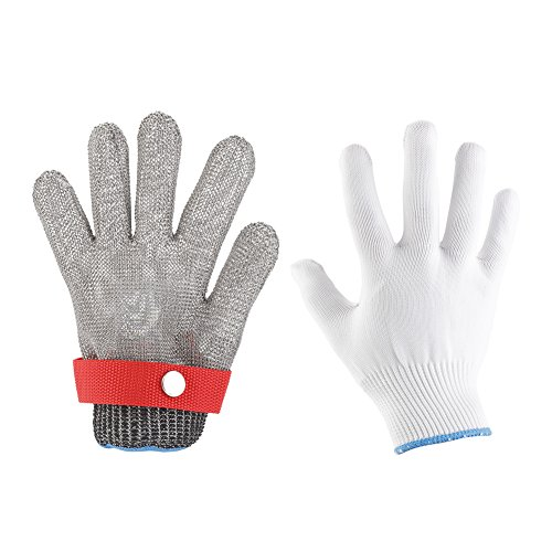 Akozon Cut Resistant Handschuhe, hohe elastische Level 5 Schutz Edelstahl Metal Mesh Handschuh für Küche Essen Prep, Schneiden, Oyster Shucking und so weiter(XXL) (Prep-manuelle)
