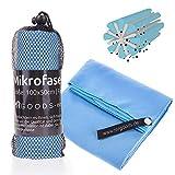 Mikrofaser Handtuch schnelltrocknend saugstark und weich - Mikrofaserhandtuch Badetuch für Urlaub, Fitness, Zelten (100x50cm) (Blau)