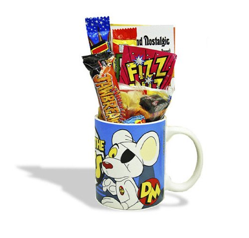 Dangermouse 'Your the Boss' Mug jammed with a teatime selection of 80's themed sweets. 630gms