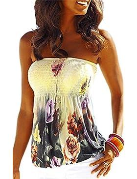 Blusa Para Mujer Sin Tirantes Top de la Camiseta Mini Casual SueltoTops Occasional Vestido De Coctel Club Partido...