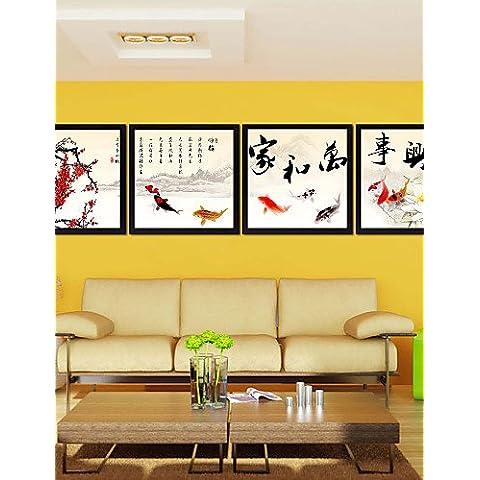 Generico CHINT Drawning Sala Telai cinesi Wall Art telaio in legno con tela con plastica vetro organico 4pezzi/impostare NL1474