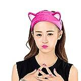 TININNA Headband Bandeau Oreille de Chat pour Maquillage Lavage de Visage Douche Serre Tête Rose Rouge