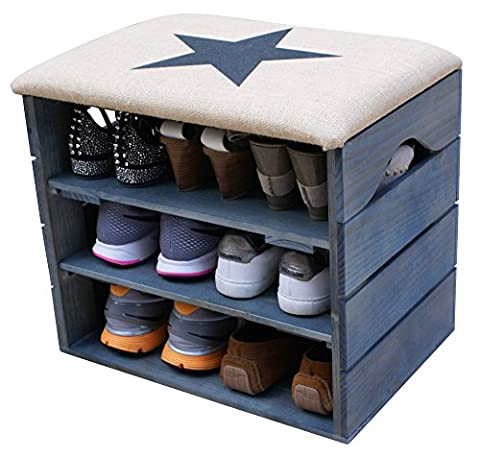 SHOE RACK (PETROLEUM BLUE) - Premium Vintage Wooden Shoes Organiser, Storage, Cabinet, Holder Bench with (Panca Appendiabiti)