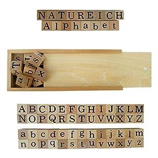 Natureich - Alphabet Blocks - Holzbausteine zum Lesen Lernen für Kinder ab 3 Jahren