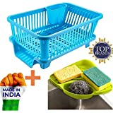Zyomatiq Popular Combo Kitchen Sink Corner Organizer & 3 in 1 Large Durable Sink Plastic Dish Rack Utensil Drainer Drying Basket with draining Tray After wash Cutlery Fork Organizer(Multi Color)