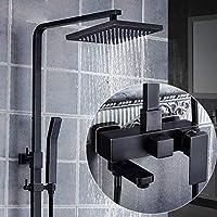 Yankuoo Bathroom Shower System, Retro Black 4 Model Shower Set, Wall-mounted Square Hand Shower Faucet/Rain Shower Head - Liftable Pressurized Water