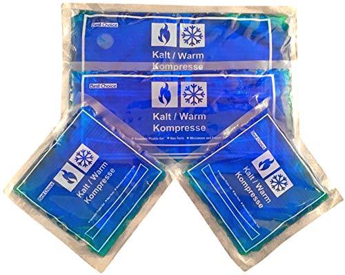 4 x Mehrfach-Kompressen kalt warm, 2 Größen, 15 x 15 cm und 29 x 12 cm, Gelkissen sind Mikrowellen geeignet, wiederverwendbar, Kühlpad oder Wärmepad
