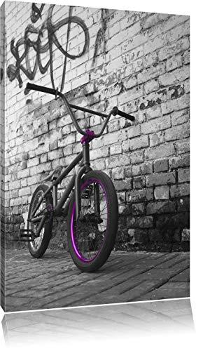 BMX Fahrrad vor Graffitiwand schwarz/weiß Format: 100x70 auf Leinwand, XXL riesige Bilder fertig gerahmt mit Keilrahmen, Kunstdruck auf Wandbild mit Rahmen, günstiger als Gemälde oder Ölbild, kein Poster oder Plakat