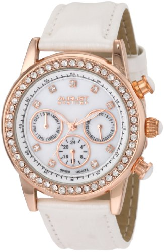 August Steiner Reloj de cuarzo suizo Multi-Function Dazzling Fashion para mujer