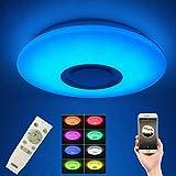 HOREVO LED Sternenhimmel Deckenleuchte 24 Watt 1800 Lumen mit Bluetooth Lautsprecher mit Fernbedienung RGB Ambientebeleuchtung Dimmbar Smart Home Deckenlampe für Kinderzimmer, Party, Wohnzimmer