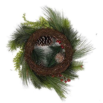 Olsen & Smith 36cm Guirnalda Decorativa Tradicional de Navidad para Interiores con Adorno de Oro, Madera picada y decoración de piña (Oro de 36 cm)