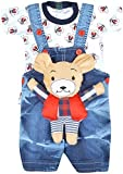 #10: Kuchipoo Baby Dungaree with Colorful T-shirt (KUC-DUN-101, Blue & White, 1 Years - 1.5 Years)