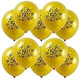 elfisheu 10 Teile Luftballons Geburtstagsdeko Luftballons mit der Zahl 30 40 50 60 Zum Geburtstag Party Deko (50 TH, Gelb)
