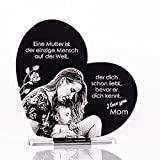 CHRISCK design Geschenkidee zum Muttertag mit Foto-Gravur 14x14cm (Wunschgravur)