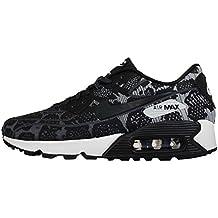 Nike Air Max 90 Jacquard Mujer Zapatillas en gris oscuro, Blanco Y Negro 749326 001