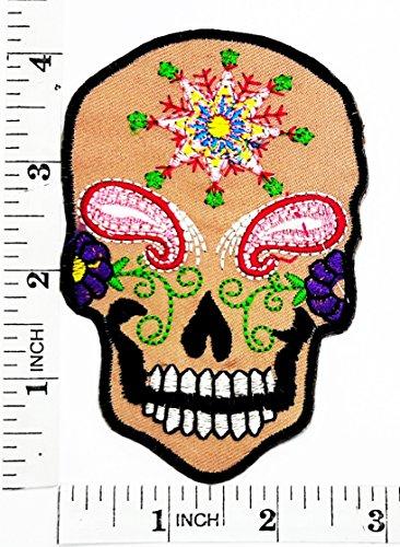 Star Flower Sugar Skull Tag der Toten Lady Rider Biker Motorrad Patch Hand bestickt und Bügelbild Symbol Jacke T-Shirt patches aufnäher Zubehör (Diy Tag Der Toten Kostüme)