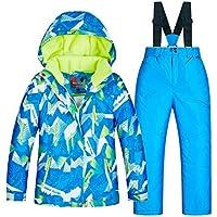 Chaqueta de esquí Impermeable para niños a Prueba de Viento al Aire Libre para niños de Invierno, Juego de 2 Piezas