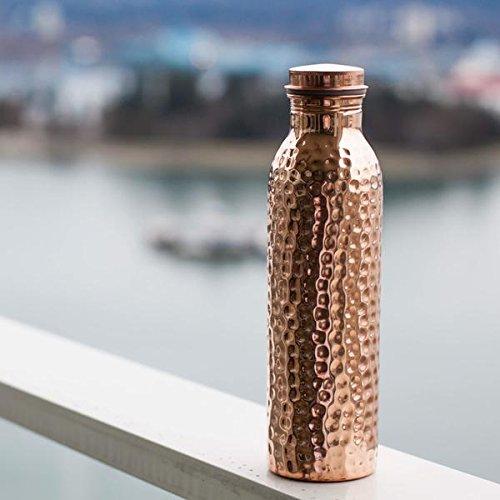 indianartvilla handgefertigt, Gelenk frei auslaufsicher Kupfer Wasserflasche 1050ml Reise Flasche–Aufbewahrung Trinkwasser Gesundheit Benefit Yoga, Ayurveda