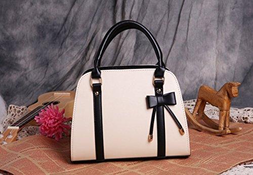 m.g.d donne Vintage NUOVA Lady Borse Hobo Bag borsa con fiocco in pelle borsa a tracolla Messenger Bag creamy-white