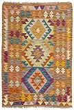 CarpetFine: Kelim Afghan Teppich 83x118 Braun,Violett - Geometrisch