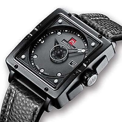 Relojes de Hombre Relojes de Pulsera Impermeable Deportivo Cuadrado Día Fecha de Cuero Negro Reloj Hombres Negocios Vestido Rectangular Diseñador Analógico
