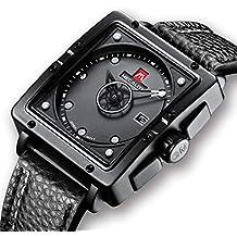Relojes de Hombre Negro Relojes de Pulsera Deportivo Impermeable Diseño de Cuero Reloj Hombres Negocios Moda