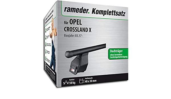 123590-37757-1 Dachtr/äger Tema f/ür OPEL Crossland X Rameder Komplettsatz