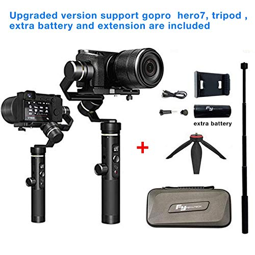 FeiyuTech G6 plus Upgraded version Gimbal Handheld Stabilizer for GoPro HERO 7/6/5/Smartphone,800g playload,Wifi build and splashwater proof ,Tripod ,Extra battery and Extension are inclu