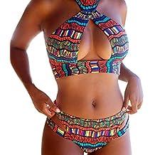 Traje De Baño De Mujer,RETUROM Mujer Sexy Color de impresión Bikini Conjunto Push-