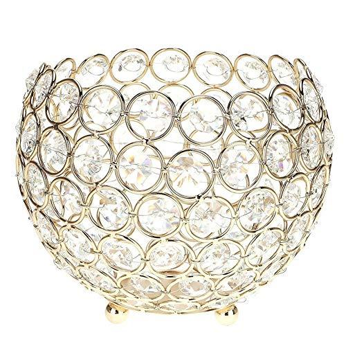 Kristall-Kerzenhalter, runde Laterne Säule, Teelichthalter, mit Kerzen-Halter, Metall, für die windowsills candlestands Tische, Herzstücke, als Geschenk, Hochzeit Jahrestag,, metall, gold, 15 cm