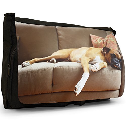 Fancy A Bag Borsa Messenger nero Bull Dog Sitting Boxer Dog Lying On Sofa