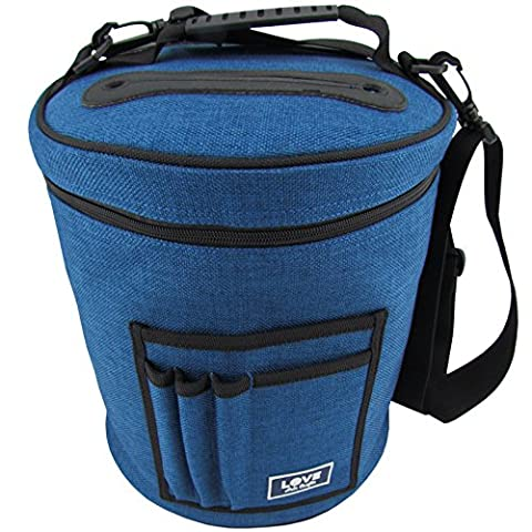 Knitting Bag for Yarn and Wool Storage. Portable, Lightweight and Easy to Carry. Knitting or Crochet Yarn Holder with Pockets for Knitting Accessories and Slits on Top to Protect Wool and Prevent Tangling.
