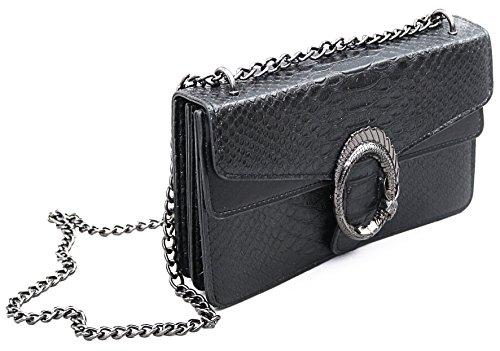 Designer Handtasche in Kroko-Optik by Sassyclassy | Elegante Damen-Tasche in Schwarz | Drachen-Körper Schmuck-Detail | Chain-Bag mit Kettenhenkel | Animalprint Krokodils-Prägung | Umhängetasche (Gucci Classic Handtaschen)