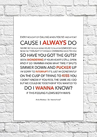 – Arctic Monkeys Do I Wanna Know ? – Lyrical chanson Art Poster – Impression Sans Cadre
