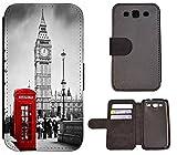 Flip Cover Schutz Hülle Handy Tasche Etui Case für (Samsung Galaxy S3 Neo, 1103 London Big Ben England Rot Grau)