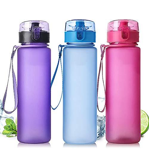 CFPACR 400ml / 560ml mattiert tragbare auslaufsicher im Freienreisesport-Wasser-Wasser-Cup-Flasche - Lila 400ml - Lila Brita-wasser Flasche