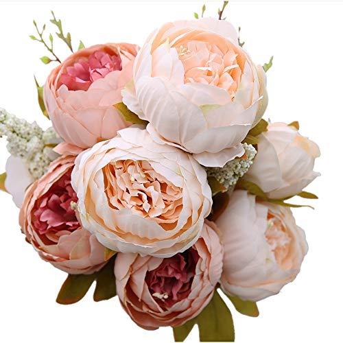 Houda - bouquet di peonie artificiali, in seta, decorazioni per la casa o per matrimoni. champagne