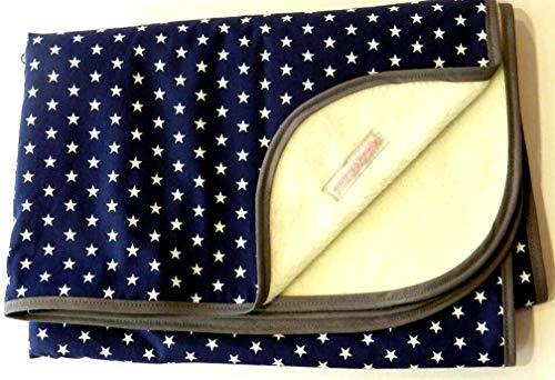 Babydecke - STERNE AUF BLAU - mit Schrägband - 100 x 70 cm - Baumwolle & Fleece - personalisierbar...