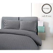 Lujo 100% algodón suave acogedor cepillado, franela térmica, dibujo en espiga, funda de edredón fundas de almohada juego de cama, antracita, matrimonio