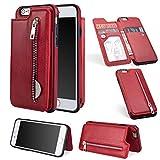 Artfeel Flip Brieftasche Hülle iPhone 6, iPhone 6S Leder Handyhülle mit Kartenhalter,Retro Reißverschluss Tasche Zurück Abdeckung mit Ständer Magnetverschluss-Rot