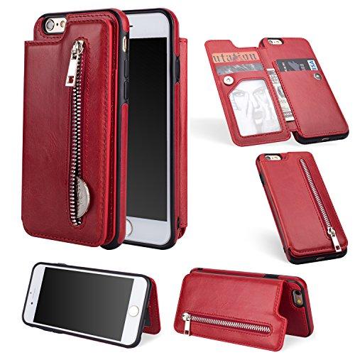 Shinyzone Reißverschluss Brieftasche Handyhülle für iPhone 6S Plus,iPhone 6 Plus Hülle mit Kartenfächer [Magnetische Schnalle] Retro Premium PU Ledertasche Flip Schutzhülle-Rot -