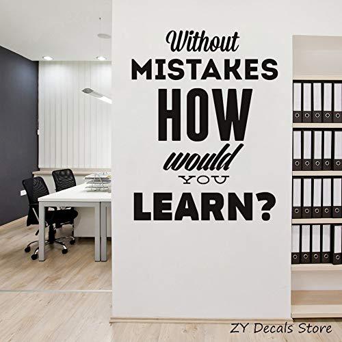xinyouzhihi Motivazione Wall Sticker Home Quotes Words Ispirare Senza errori Come impareresti Adesivi murali in Vinile Office L 42x55cm