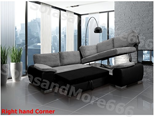 BRAND NEW – ENZO – CORNER SOFA BED WITH STORAGE – JUMBO CORD FABRIC LEATHER – RIGHT HAND SIDE ORIENTATION (GREY AND BLACK)