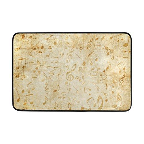 (ahomy Polyester Badteppich Vintage Musical Note Rechteckige Fußmatte Schlafzimmer Matte Wohnzimmer Badezimmer Dusche Matten rutschfeste weiche saugstarke Kleine Bereich Teppiche 60x 40cm (2x 1.3ft))